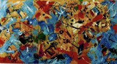 """The Dance of Life triptych: oil on canvas 105"""" x 59"""""""