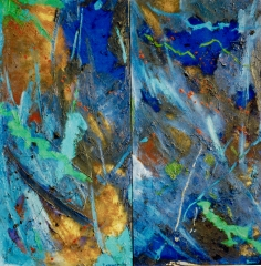 "oil on canvas diptych 55"" x 55"" sold"