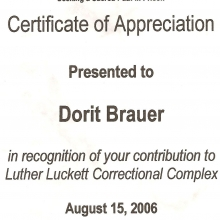 Certificate of Appreciation from the Luther Luckett Correctional Complex, La Grange, Kentucky (Chapter 4, Girls Don't Ride Motorbikes)