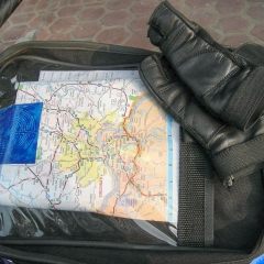 Tank bag with map, St. Christopher medallion and labyrinth picture (Chapter 1, Girls Don't Ride Motorbikes)