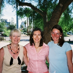 Trinity Episcopal Cathedral, Phoenix, Arizona, with friends Isabel Meyer (center) and Ulrike Bivins (left)