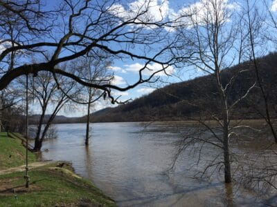 The Ohio River in New Cumberland, West Virginia, runs high after the recent rain.