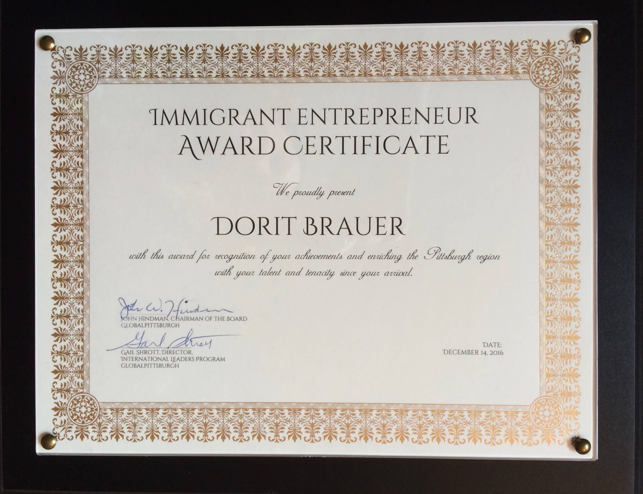 Immigrant Entrepreneur Award
